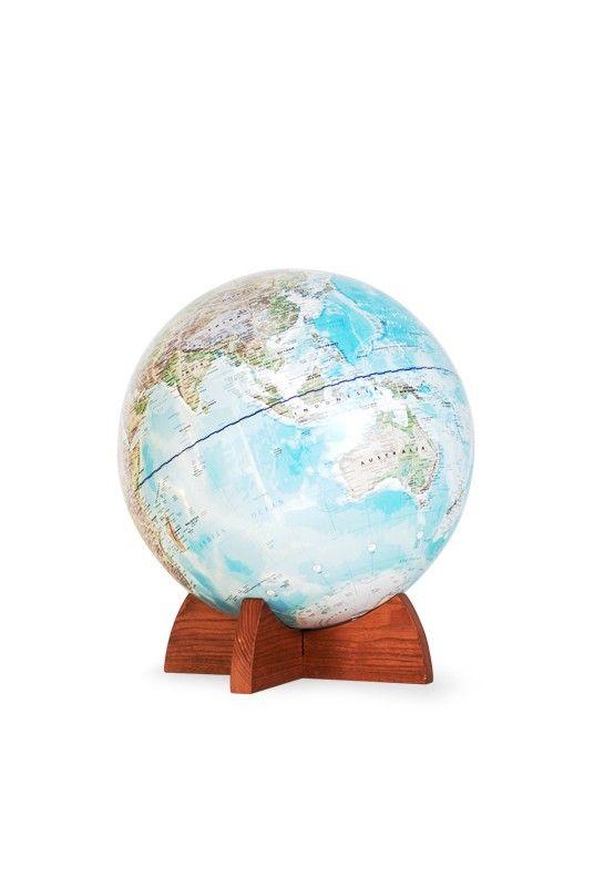 Telegram World Globe - Ash Wood Base
