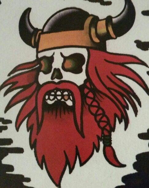 """Traditional/old school tattoo, Jeromey """"tilt"""" McCulloch, Coopr, viking, skull"""