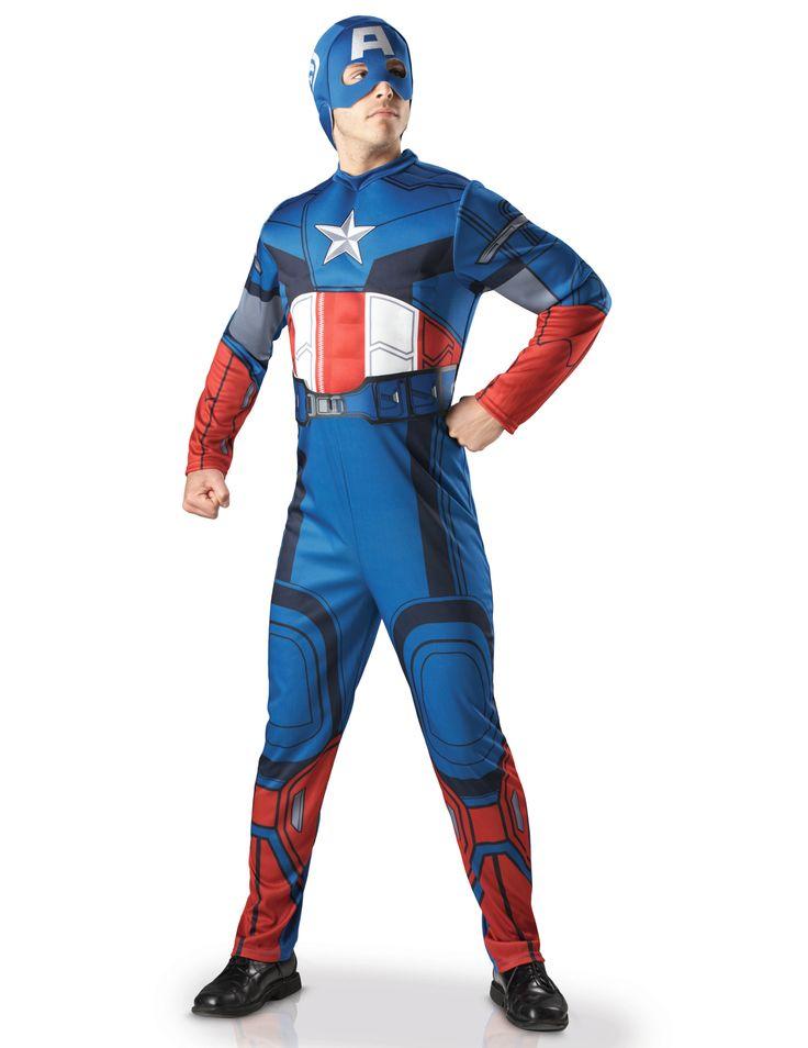 Disfraz de Capitán América deluxe adulto - Los Vengadores™: Este disfraz de Capitán América de lujo es para adulto con licencia oficial Los Vengadores™.Incluye traje y capucha (zapatos no incluidos).El traje es de tejido flexible y...