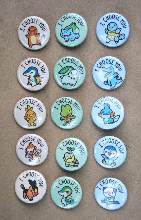 Pokémon Starter Buttons.