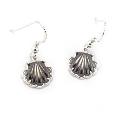 Pilgrim shell earrings in sterling silver. Handmade in Galicia with traditional methods. Artcraft of The Way of St.James. Tax free $21.90
