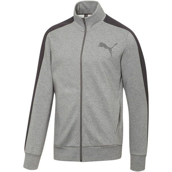 Puma Core Track Jacket ($55) ❤ liked on Polyvore featuring men's fashion, men's clothing, men's activewear, men's activewear jackets and light grey
