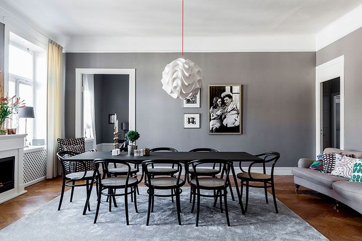 Awesome Swedish Home With Cool Black And White Photos On The Walls (161 Sqm |  Interiors Online, White Dining Table And Design Room Nice Ideas