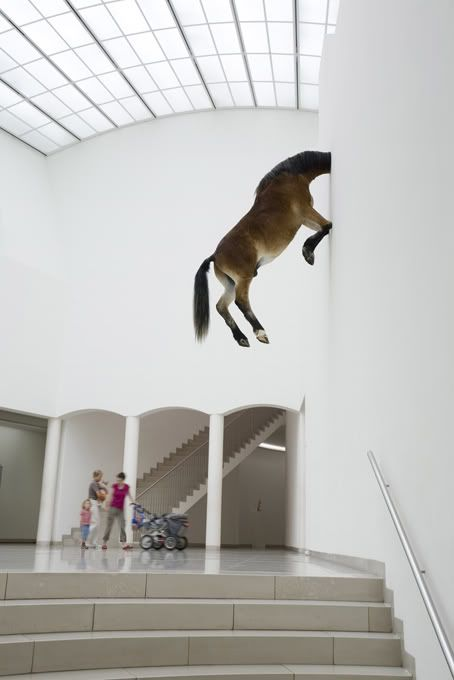 I don't know why, but there's something captivating about this to me (more art to follow). Maurizio Cattelan, Untitled, 2007: Inspiration, Horses, Maurizio Cattelan, Art Photography, Artworks Artists Sculptures, 2007 Maurizio, Art Installations, Kunsthaus Bregenz, Animal