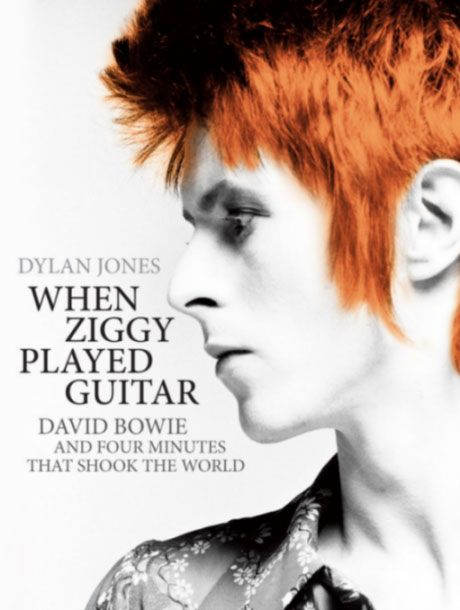 """When Ziggy played guitar : David Bowie and four minutes that shook the world"", by Dylan Jones. - is  about   the performance that turned Bowie into a star, embedding his Ziggy Stardust persona into the nation's consciousness. With a flame-orange cockade quiff, lavishly applied make-up, white nail polish, and wearing a multi-coloured jump-suit, and carrying a new blue acoustic guitar, a bone-thin Bowie appeared not so much as a pop singer, but rather as some sort of benevolent alien."