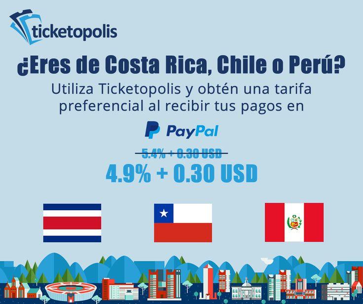 ¡PRIMERA SORPRESA! Si eres de Costa Rica, Chile o Perú, recibes una tarifa preferencial al crear y utilizar tu cuenta de PayPal con Ticketopolis. Si estás interesado, pregúntanos y te enseñaremos cómo comenzar a gozar de este beneficio. #SóloConTicketopolis ¡Esperen aún más sorpresas para Latinoamérica en los próximos días! #tips #evento #concierto #conferencia #simposium #congreso #carrera #cultura #software #boletos #tickets #eventprofs