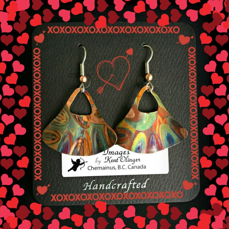 valentines day, copper anniversary, 7th anniversary, 7 year anniversary, copper dangle, hammered copper, flame painted copper, wearable art by ImagesbyKentOlinger on Etsy https://www.etsy.com/ca/listing/507085015/valentines-day-copper-anniversary-7th