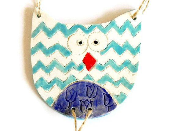Owl Ornament Chevron Pattern Ceramic Eco Friendly Woodland Pottery Aqua and Navy Blue Bird on Etsy, $13.00
