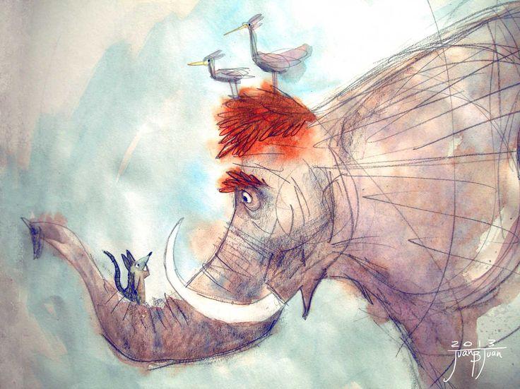 "elephant watercolour study for ""Unagalala"" book"