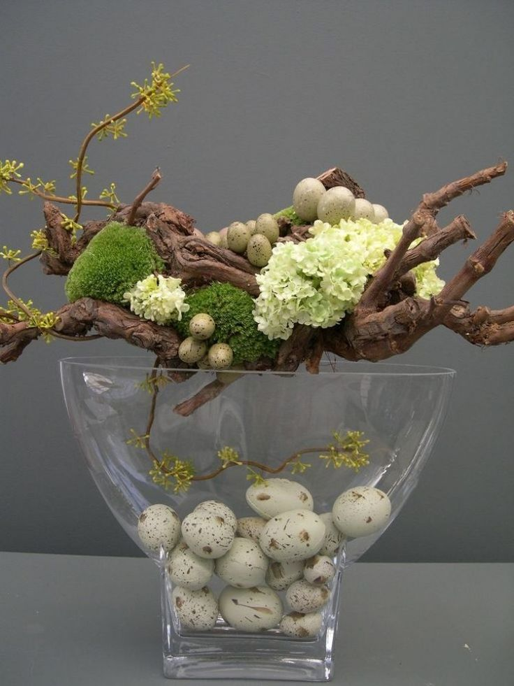 Frühlingsdeko mit Naturmaterialien gekreiert