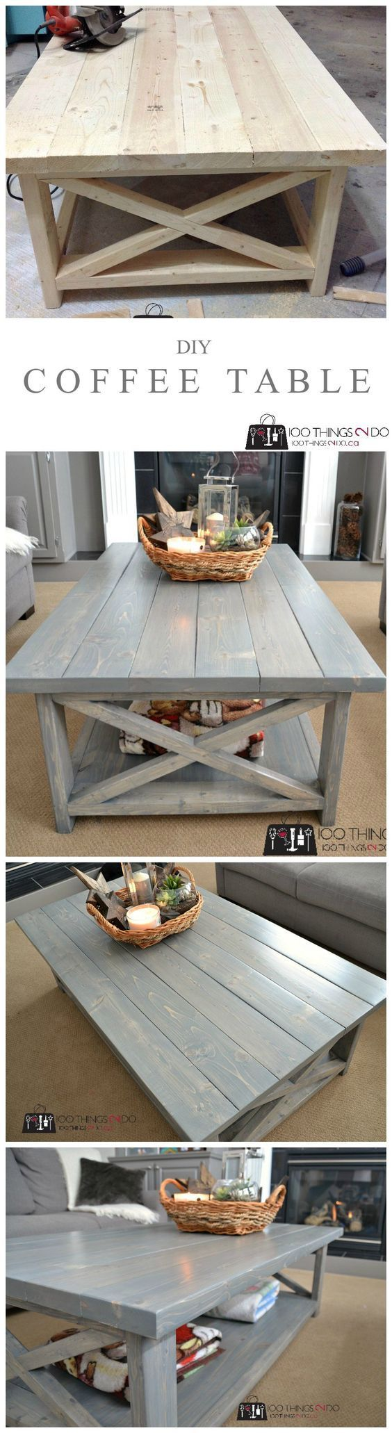 Best Diy Coffee Table Plans Ideas On Pinterest Build A - Charming vintage diy sawhorse coffee table