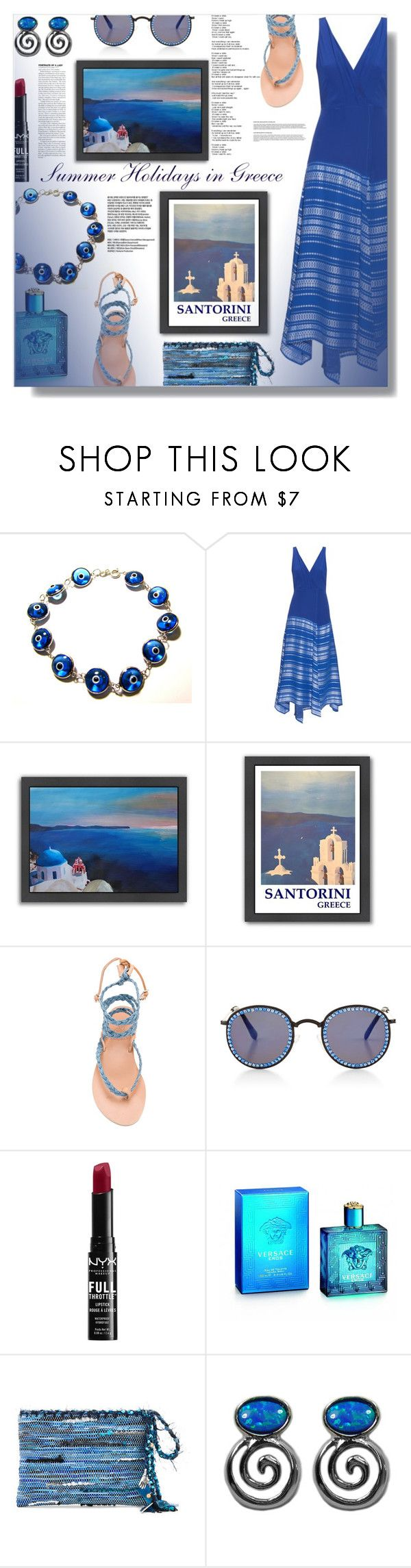 """""""Summer Holidays in Greece!"""" by sarahguo ❤ liked on Polyvore featuring Zeus+Dione, Americanflat, Ancient Greek Sandals, Frēda Banana, NYX, Versace, Greece and summerholidays"""