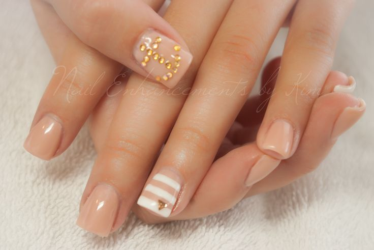 LCN Gel Nails, Stripes, Nudes, Anchors. Created by Kimberly Steeves (Speichts)