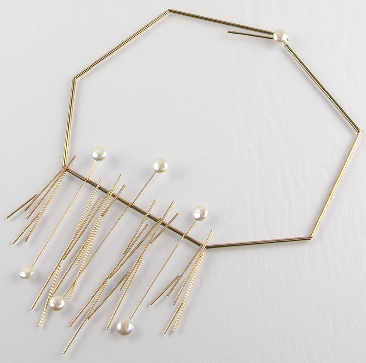 Betty Cooke modernist 14K gold and pearl kinetic necklace
