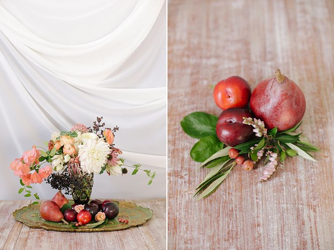 Romantic Peach and Plum Fall Wedding Inspiration. Perfect! But less peach & more burgundy or plum :)