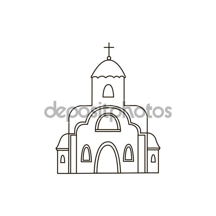 Церковь Иконы Божией матери. Рисунок. Здание. Линия — Векторное ...