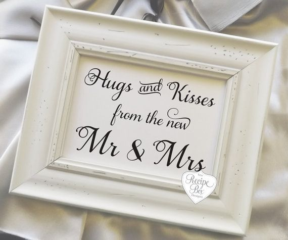 Hugs and Kisses from the new Mr and Mrs, Rustic Wedding Signs, Signs, wedding reception signage