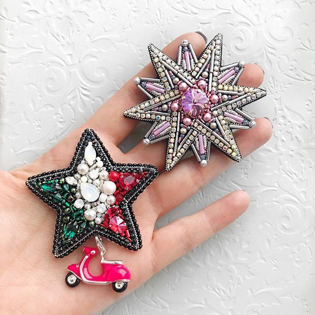 И обе брошечки вместе ♥️ (Проданы) #звезда #брошьзвезда #брошьиталия #брошьручнойработы #ручнаяработа #брошь #embroiderybrooch #brooch #handmadebrooch