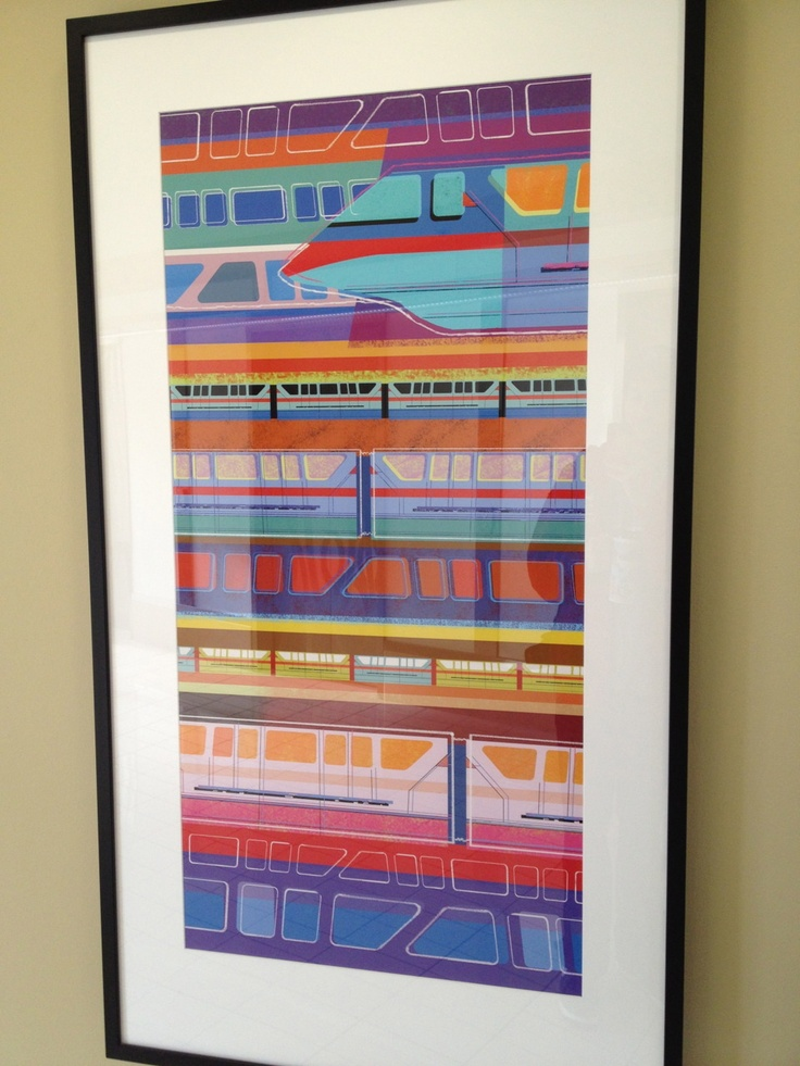 Modern Monorail print from Bay Lake Tower. MouseTalesTravel.com  #MTT #Disney #BLT: Happiest Place, Disney Stuff, Sweet, Bays, Monorail Art, Absolutely Disney, Disney Art, Bay Lake Tower Disney, Awesome Stuff