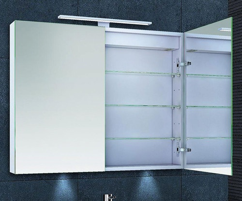 Ebina Illuminated Double Door Bathroom Mirror Cabinet With Shaver Socket