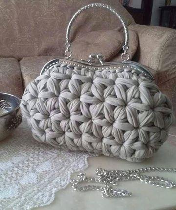CTejidas [Crochet y Dos Agujas]: Patrón #952: Bolso Trapilo a Ganchillo