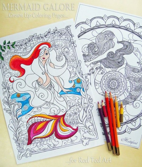 Free Mermaid Colouring Pages for grown ups - these are simpy stunning and so lovely to colour