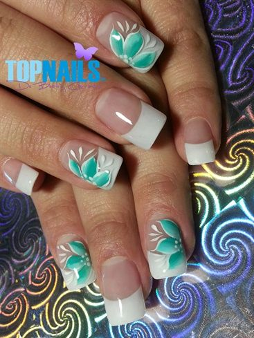 Acrylic Nails French and designs flowery painted freehand  Hazte Fans o Me Gusta  en https://www.facebook.com/topnails.cl   www.topnails.cl ☎94243426, saludos Beatriz