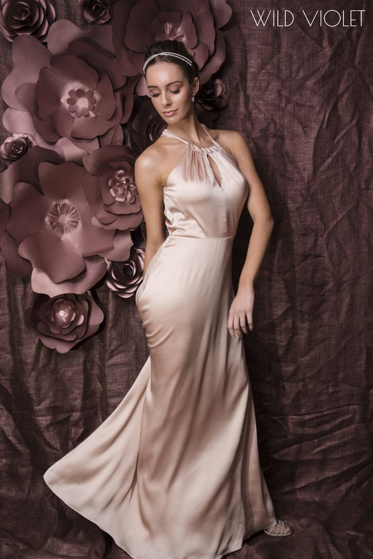 GEORGIA //soft satin halter neck bridesmaid and formal dress in shell pink... pure luxury!// http://wildvioleteveningwear.com.au/product/georgia-pink/