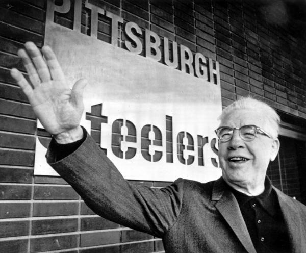 Art Rooney waves to fans at Three Rivers Stadium the week before the Steelers clinched the first NFL Division title, December 13, 1972.