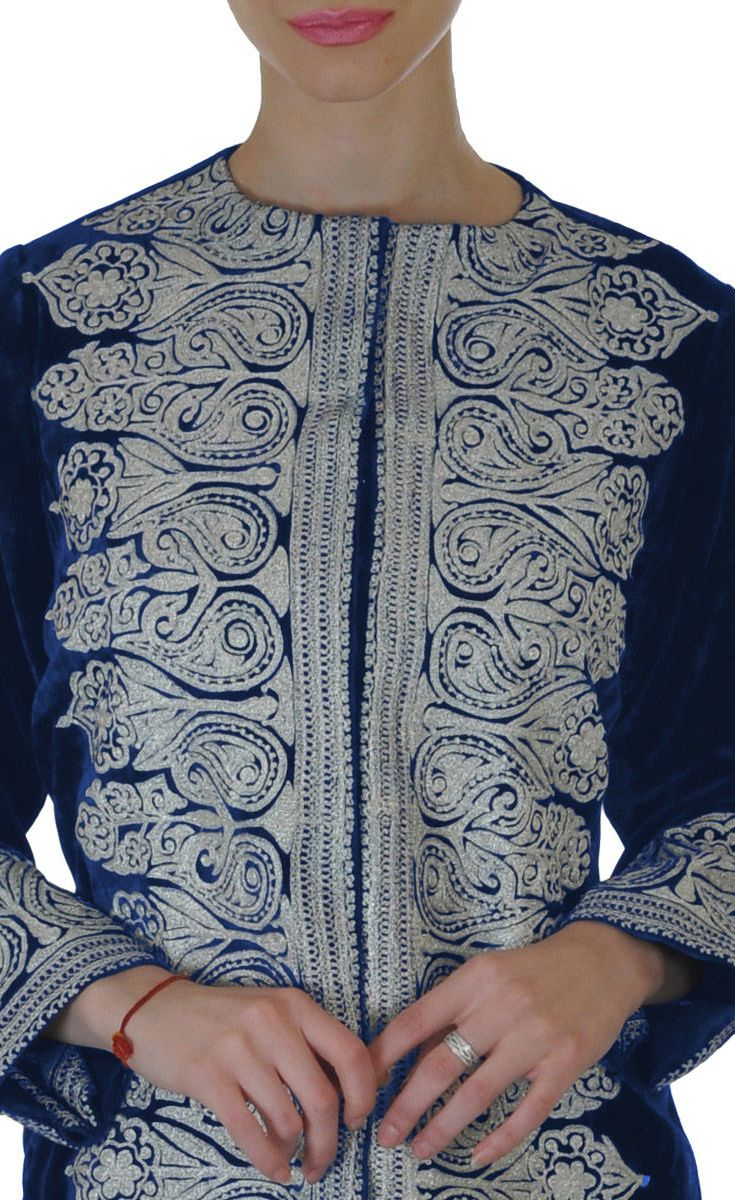 Electric Blue Silk-Velvet Tilla Embroidered Jacket With Tissue Skirt