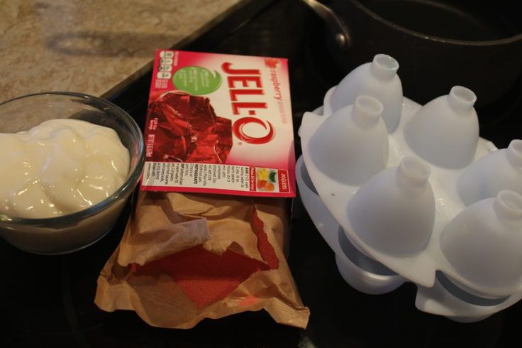 Ingredients for Yogurt Jello Easter Eggs