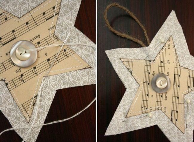 Basteln Weihnachten Papierstern Knöpfe Notenpapier