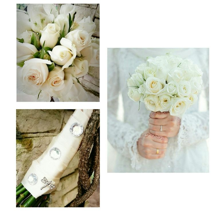 Heavenly White Roses hand-tied with Satin Ribbons by linda_blissparty