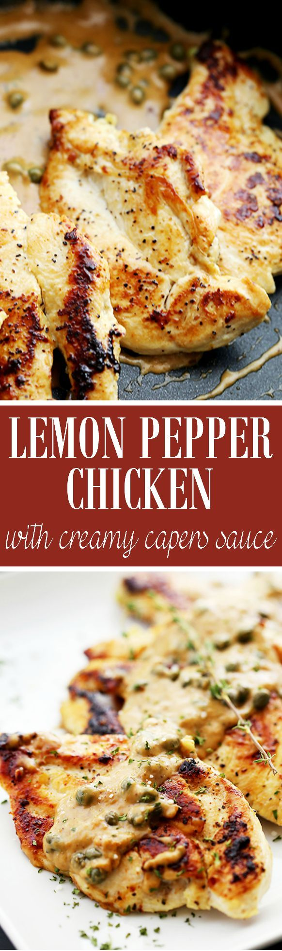 asics online cheap australia Lemon Pepper Chicken with Creamy Capers Sauce   www diethood com   Juicy  flavorful Lemon Pepper Chicken served with a lightened up cream sauce and capers