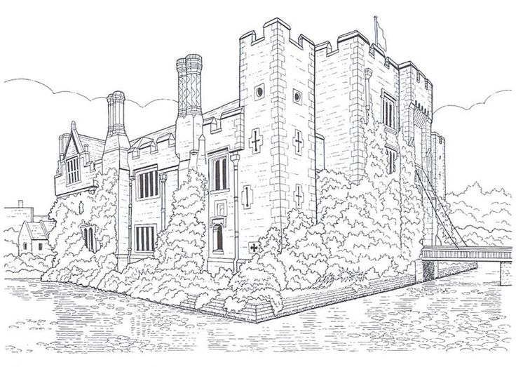 23 best Coloring Pages/LineArt Castles images on Pinterest