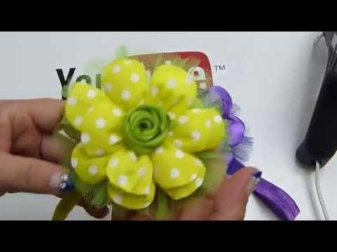 Como elaborar flores grandes liston quemado para tiaras de bebe;video 542,Ribbon Hair Bow, - YouTube
