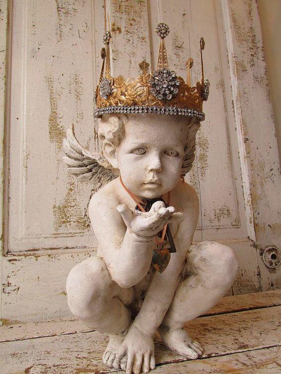 Cherub statue w/ ornate crown French Nordic by AnitaSperoDesign