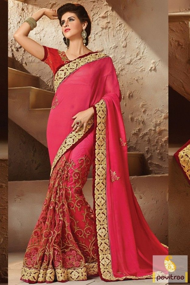 Get shine in this dark pink georgette saree online in UK and UAE online with reliable shipping charges. Shop for modern and current fashion women sarees at cheap cost. #saree, #designersaree more: http://www.pavitraa.in/store/designer-collection/