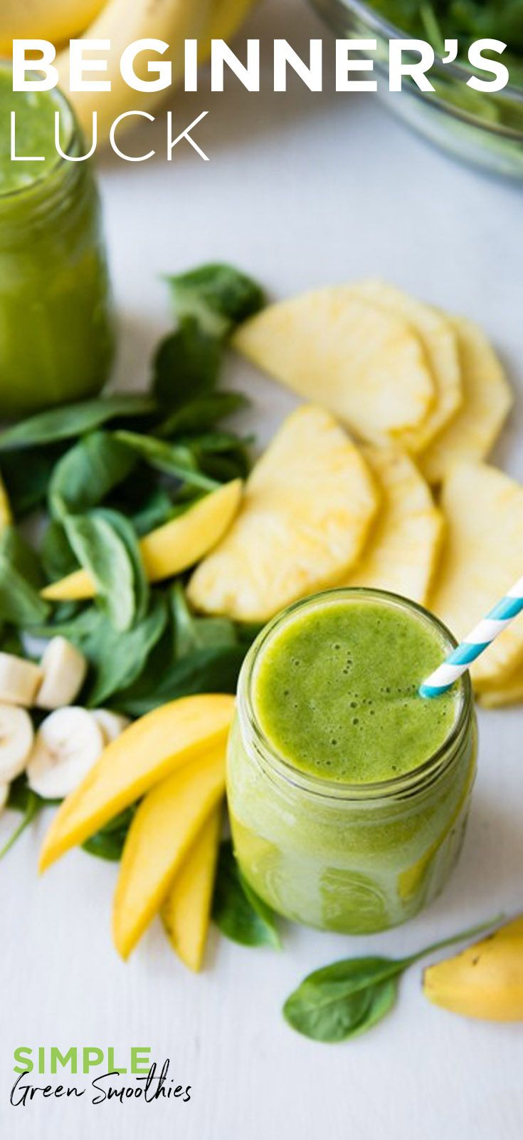 The Beginner's Luck Green Smoothie is a great beginner friendly green smoothie. It's full of iron, potassium and vitamins galore— AND tastes like a tropical treat from all the island fruit. I SimpleGreenSmoothies.com