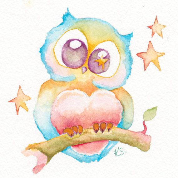 Archimedes the Owl Original Watercolor Painting by BrilliantCritter