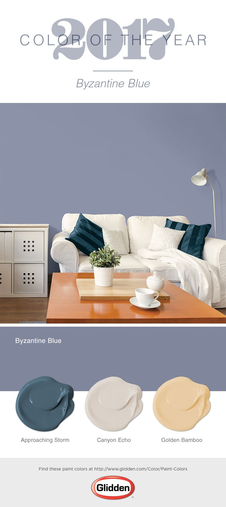 A playful yet peaceful purple, Byzantine Blue is the Glidden® 2017 Color of the Year! For a traditional style space, use this bluish-purple paint color paired with a warm yellow neutral like Golden Bamboo, a cool neutral such as Canyon Echo, and a warm, deep blue like Approaching Storm.