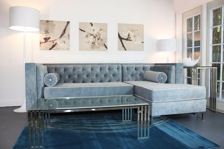 Decenni Custom Furniture U0027Tobiasu0027 Wedgewood Blue Tufted Sectional Sofa    Overstock™ Shopping   The Best Prices On Sofas U0026 Loveseats