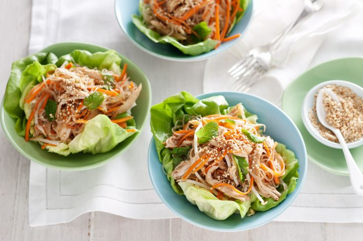 Use leftover chicken to create tasty lettuce cups. Simple and quick.
