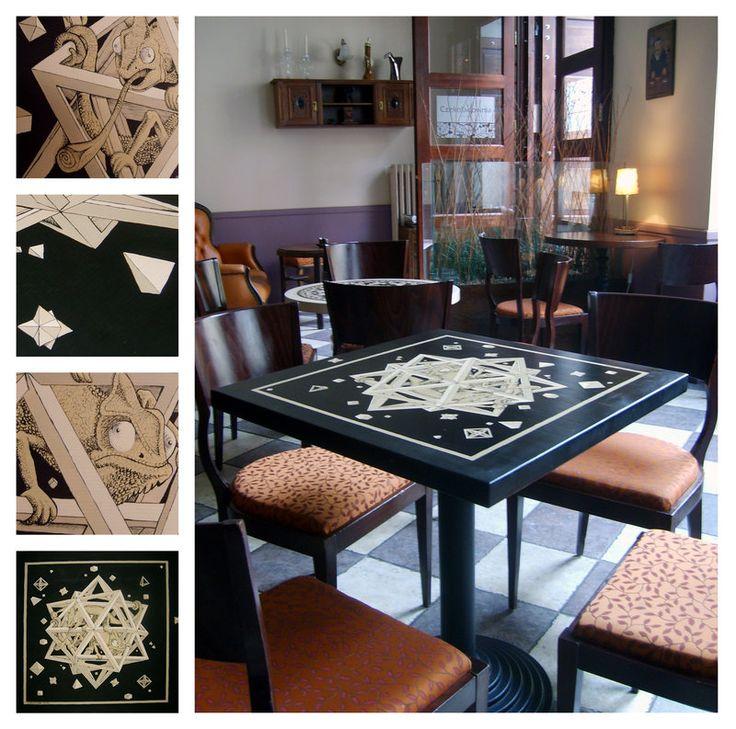 """stół dla Czekoladowni w Gdańsku.  wg grafiki M.C. Escher'a """"gwiazdy"""" ///table 3 by karolina-g.deviantart.com on @deviantART"""