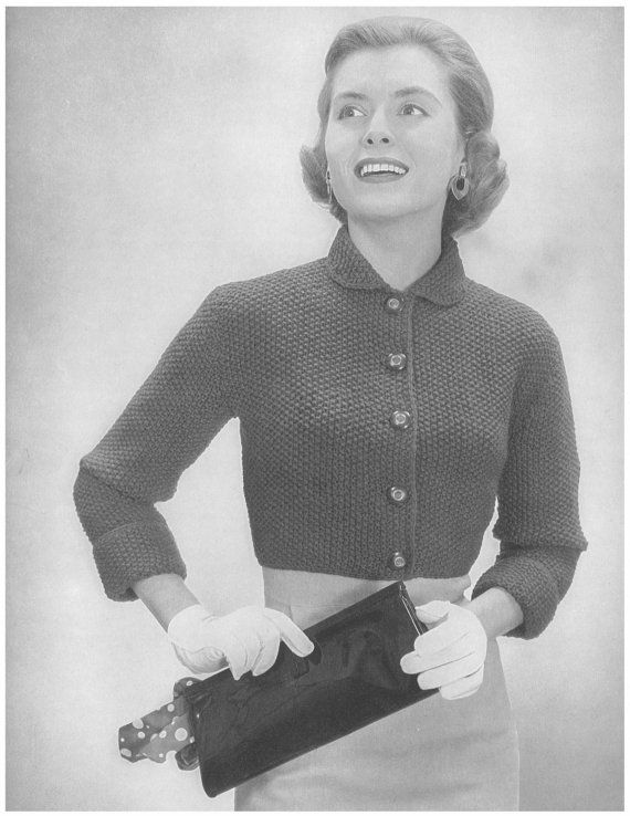 This pattern is for a short jacket which is from 1956 Bernat Handicrafter Book 51. ★ This short bolero fits closely and hits above the natural waist. It is worked in Seed Stitch and has turn-back cuffs, a Peter Pan collar and buttons down the front. Size: to fit bust 34, 36, 38. Gauge: 16 st. = 4 in Seed Stitch ★ This pattern is a digital download and is delivered to you immediately upon receipt of payment. ★ Sale! Two patterns for $7 with code: 2FOR7 Three patterns for $9 with ...
