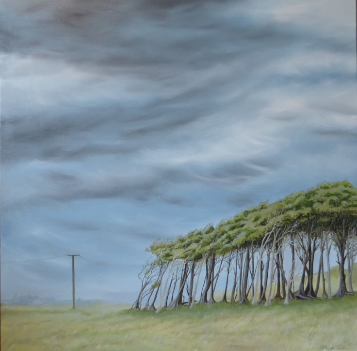 Prevalent Nor 'ester, Oil on canvas 800 mm 800 mm