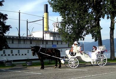 Penticton Carriage Tours in front of the SS Sicamous Stern Wheeler.