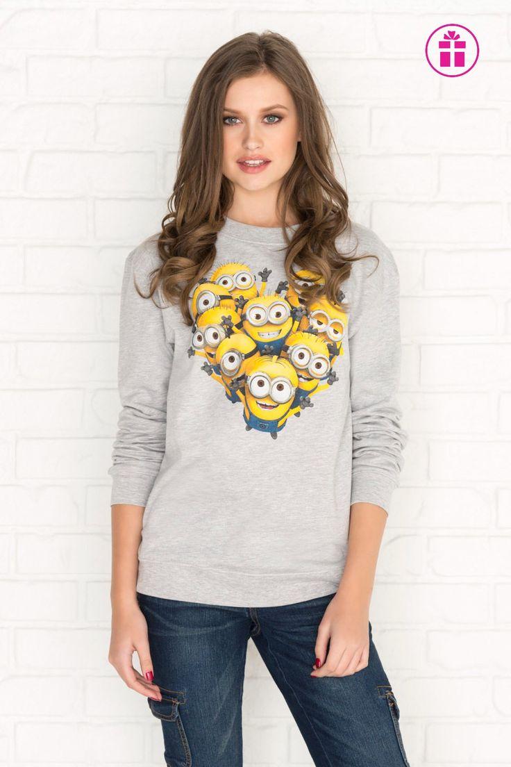 Heather grey Minions heart graphic sweatshirt