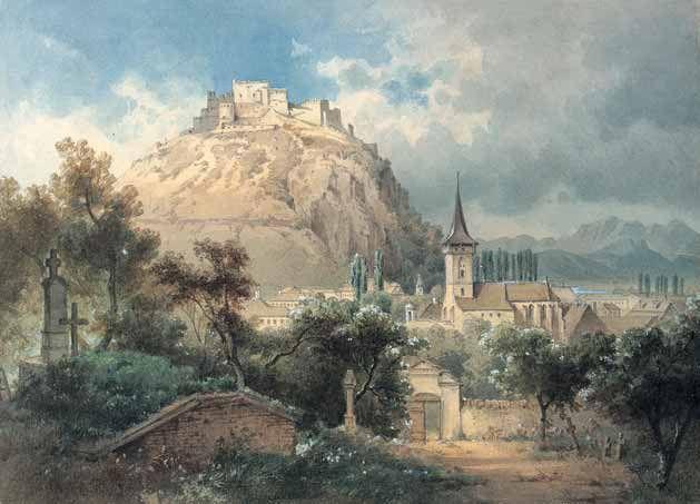 Biserica reformată a Devei așa cum se păstra la mijlocul secolului al XIX-lea, înainte de a fi dărâmată.