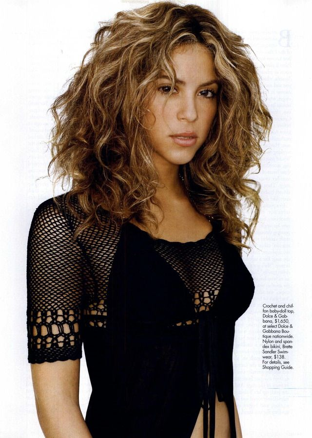 Shakira in a Dolce & Gabbana crochet top -- very edgy crochet! (ELLE magazine, April 2006)